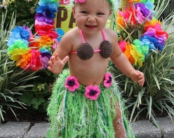 Baby Girl or Toddler Hawaiian HULA Dancer Island Photo Prop- Grass Skirt Coconut Bra and Flower Hairclip - Made to Order PLAN Ahead