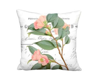 Rose Camellia Pillow Cover - Shabby Chic Decor - Peach Flower Pillow - 16x 18x 20x 22x 24x 26x 28x Inch Linen Cotton Cushion Cover