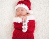 Newborn Christmas Outfit - Santa Swaddle Sack and Hat Set - Newborn Christmas Photo Prop - Holiday Snuggle Sack - READY TO SHIP