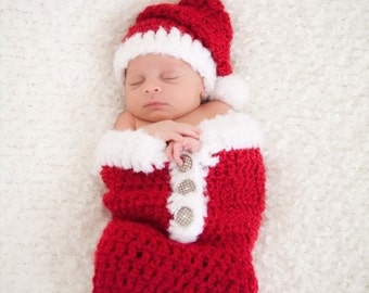 Newborn Christmas Outfit - Santa Swaddle Sack and Hat Set - Newborn Christmas Photo Prop - Holiday Snuggle Sack with Fluffy White Trim