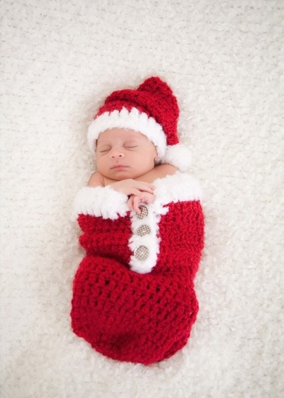 Newborn Christmas Outfit Santa Swaddle Sack and Hat Set