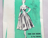 Vintage 1950s Pattern Dress Prominent Designer A879 Frank Starr Peg Endersby Prom Pin-Up Full Skirt Sweetheart Neckline Bust 28 Rockabilly