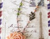 Pink Floral Necklace, Boho flower necklace, Pink bohemian necklace, Asymmetrical Necklace, Pink and Green Necklace - Spring