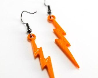 Orange Lightning Bolt Rockabilly Earrings