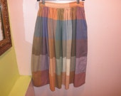 80s does 50s full plaid summer skirt 1980s woven cotton muted preppy pastel plaid circle skirt size medium small 27 inch waist