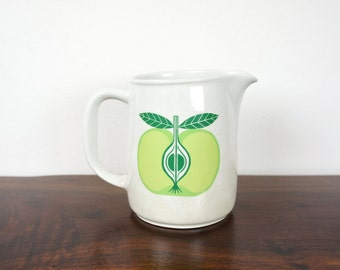 Vintage Green Apple Arabia Finland Small White Ceramic Pitcher Mid Century Modern Scandinavian Design 1960s Arabia Finel, Kaj Franck Pottery