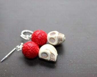 White Sugar Skulls earrings