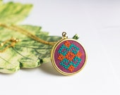 Ethnic necklace - Hand embroidered cross stitch jewelry - ethnic traditional embroidery - n021