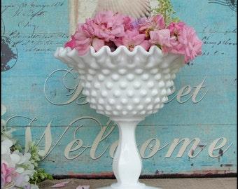 Vintage Fenton Pedestal Milk Glass Hobnail Centerpiece/ My Milk Glass Home/ Wedding Milk Glass