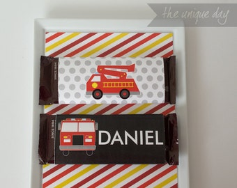 Printable Chocolate wrapper - Fire Truck Birthday Party - Personalized- Can Be Made to Match ANY Theme in My Shop // FIR - 07