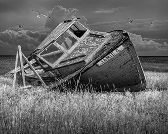 Fishing Boat Ship Wreck of the Jamie G on Prince Edward Island in Prince Edward Island Canada No.JGBW  A Black and White Seascape Photograph