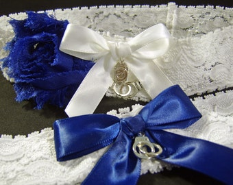 Police Wedding Garter Set Dark Blue and White Stretch Lace with Handcuffs and Badge