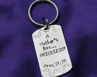 A Mother's Love Prov 31 scripture hand stamped keychain
