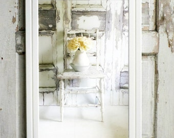 L O N G.. Greek Revival White Mirror Bedroom Dressing Mirror Nursery