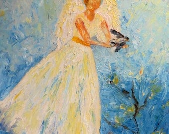 Angel doves birds palette knife CANVAS PRINT Giclee   of original art in oils by Sandra Cutrer Fine Art