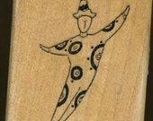 Clown  Leaping Man Rubber Stamp, Rubbermoon, Dave Brethauer
