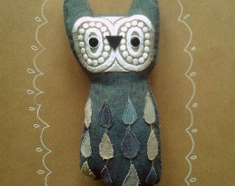 Carrigan  horned  wise owl friend , soft art  toy creature owl bird by  Wassupbrothers. Made to order