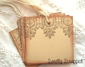 LACE Hang Tags -  Hand Stamped, Brown, Cream, Vintage Inspired, Shabby 10