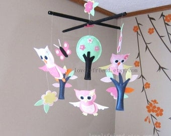"Baby Owls Mobile - baby crib Mobile - baby girl nursery mobile - ""grey and pink owls, trees, butterflies"" Mobile (Custom Color Available)"