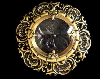 Victorian Renaissance Style Brooch Pin Gutta Percha Style Dr Brassy Style -by Dr Brassy Steampunk