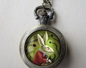 White Rabbit Pocket Watch Necklace -Alice in Wonderland Pendant - Antique Bronze Locket