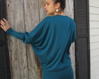 Dark Teal or Black Bamboo Jersey Knit Draped Women's Mini Dress with Wide Banded Waistband - Made To Order - Eco Friendly
