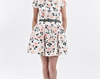 Fit and flare Floral mini dress Pink mini dress V neck mini dress Short summer dress Party dress mini Rose print dress Plus size mini dress
