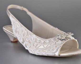 Wedding Shoes - Women's Wedding Slingback Bridal Shoes- Lace Wedding Shoes- Womens shoes- Shoes Women's- Women's Bridal Shoes-Women'sShoes