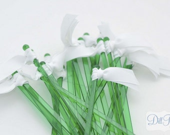 White Grosgrain Ribbon on Green Cocktail Stirrers - 25 count green stir sticks