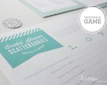 Printable Bridal Scattergories Sheet // Choose your color