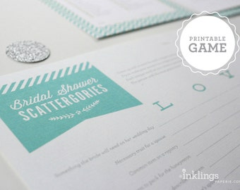 Printable Bridal Scattergories Sheet ~ Choose your color // Bridal Shower Game, Party Game