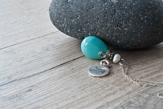 Personalized Initials Necklace, Turquoise Teardrop Pendant and Custom Monogram Silver Round Charm, Greek Letters Turquoise Personalized Gift