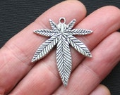 3 Large Marijuana Leaf Charms Antique  Silver Hemp Weed - SC2968