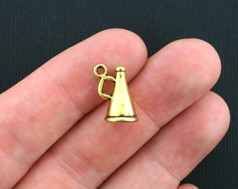 8 Cheerleader Charms Antique Gold Tone 3D Megaphone- GC279