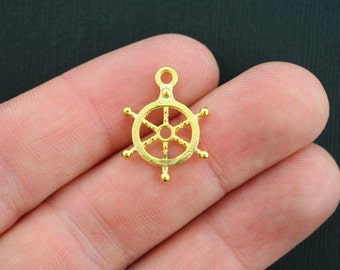 10 Ship's Wheel Charms Antique Gold Tone Helm - GC338