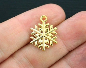 10 Snowflake Charms Gold Tone 2 Sided - GC417
