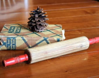 Vintage Wooden Rolling Pin with Red Handles - Rustic Kitchen Decor
