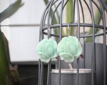 Mint Rose Charm Minimalist Feminine Earrings