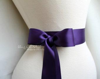 Plum Satin Sash Belt - Double Faced Satin Ribbon Sash - Wedding Gift - Bridal Bridesmaids Flower girl Sashes - Many Colors