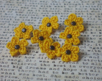 Bright Yellow Flower Scrapbook Embellishments (set of 8)