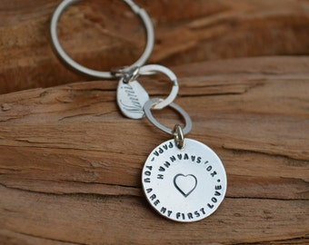 Key Chain - Sterling Silver Disc - Personalized - Dad /Teacher /Coach / Thank You Gift -Stamped Names, Dates, Quotes - Birthday, Anniversary