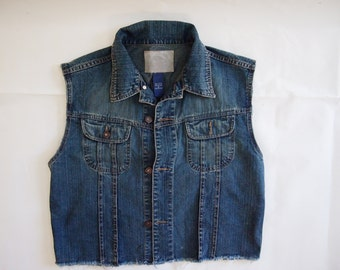 OOAK blue cut-off sleeveless denim jacket