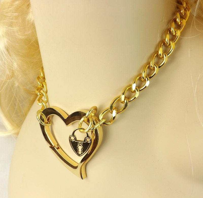 Gold Chain Choker Huge Heart Bdsm Day Collar Discreet