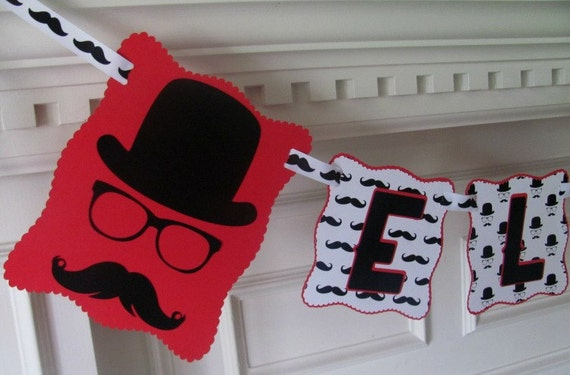 Mustache Birthday Banner with Name Banner