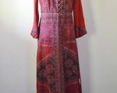 Vintage Dress 1970s Maxi Dress Hippie Dress Hand Dyed Cotton Made in India for Neiman Marcus Small Size Vintage Size 8 Nice Construction