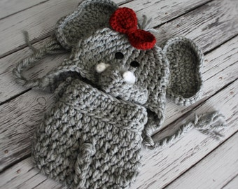 NEW - Girl Elephant Hat and Cover Set  - Baby Elephant Hat with Bow Clip - Crochet Elephant Hat and Cover -  Baby Halloween Cos