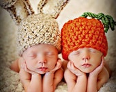 Newborn Baby Twins Photo Prop Bunny Ears Hat And Carrot Hat