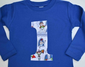 Size 18m Boys 1st Birthday Shirt, Number One Shirt, 12-18m, Ready to Ship, Knights and Princesses, Applique 1 Tshirt, Long Sleeve Royal Blue