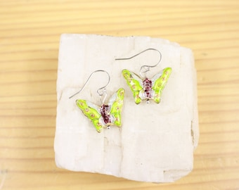 Cloisonne Light Lime Green Butterfly Sterling Silver French Wire Earrings