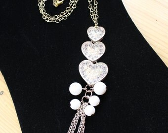 Gold Heart Rhodium Chain Necklace with Large Heart Pendant with Rhinestones